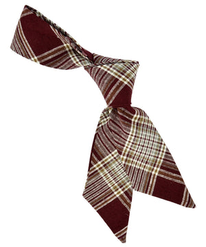 Burgundy Plaid Hair Sash - tiepassion