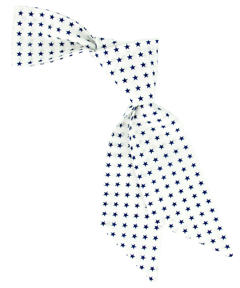 White and Navy Star Pattern Hair Sash - tiepassion
