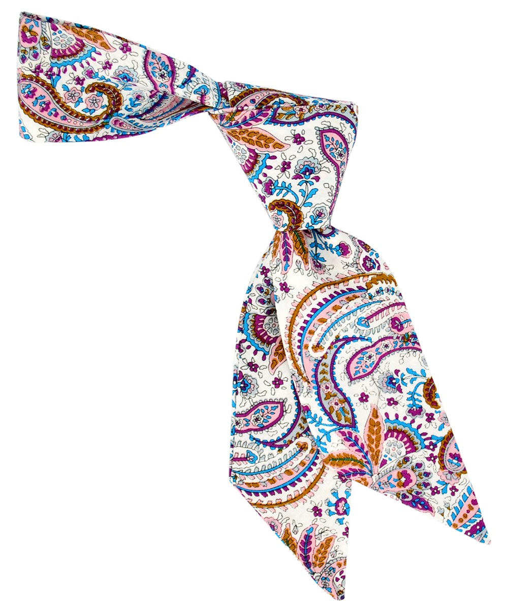 Pink, Purple, Blue and Bronze Paisley Pattern Hair Sash - tiepassion