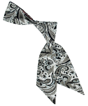 Grey, Black and Light Blue Paisley Pattern Hair Sash - tiepassion