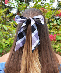 Purple, Taupe and Black Plaid Hair Sash - tiepassion