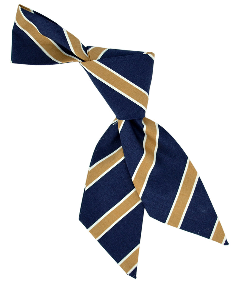 Navy and Beige Striped Hair Sash - tiepassion