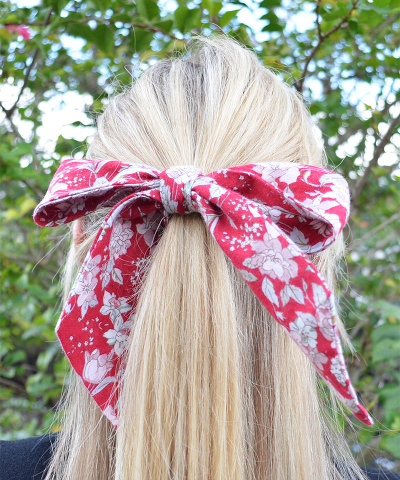 Red and White Floral Hair Sash - tiepassion