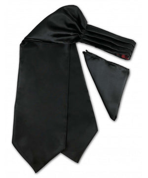 Solid Black Ascot Tie and Pocket Square