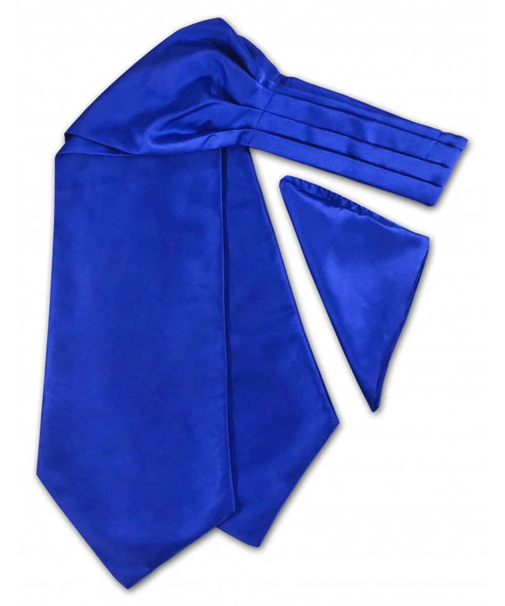 Solid Royal Blue Ascot Tie and Pocket Square