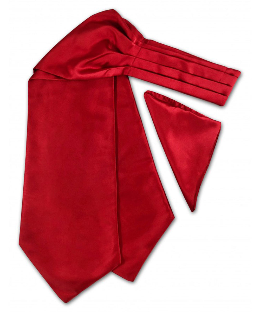 Solid True Red Ascot Tie and Pocket Square