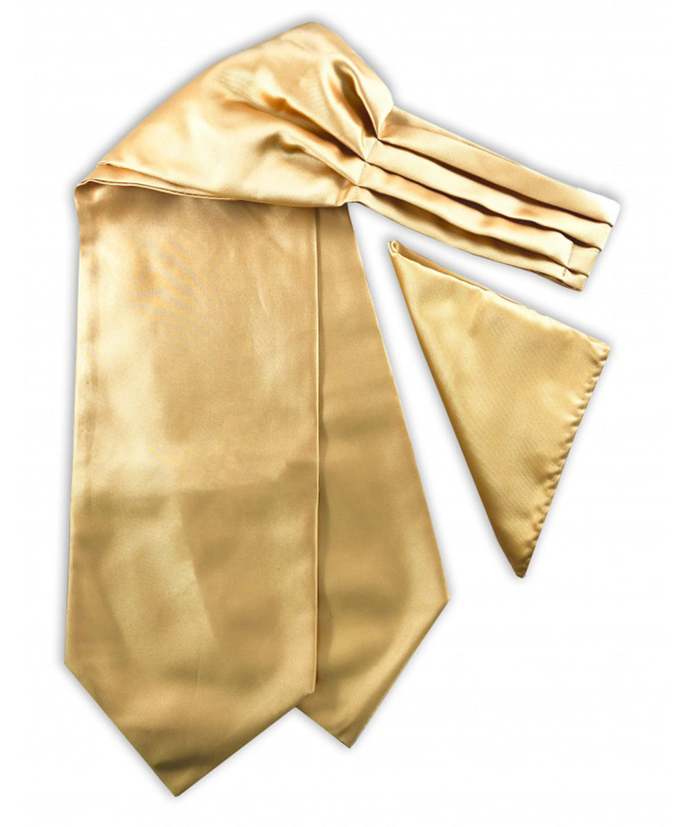 Solid Gold Ascot Tie and Pocket Square