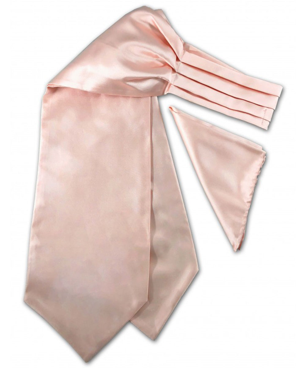 Solid Blush Pink Ascot Tie and Pocket Square
