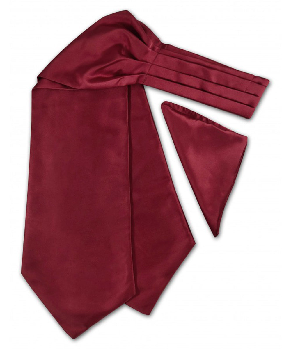 Solid Burgundy Ascot Tie and Pocket Square