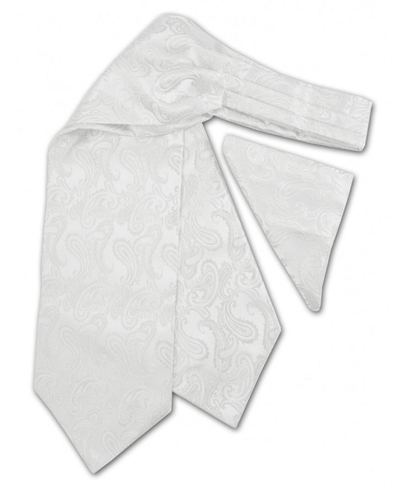 Paisley White Ascot Tie and Pocket Square