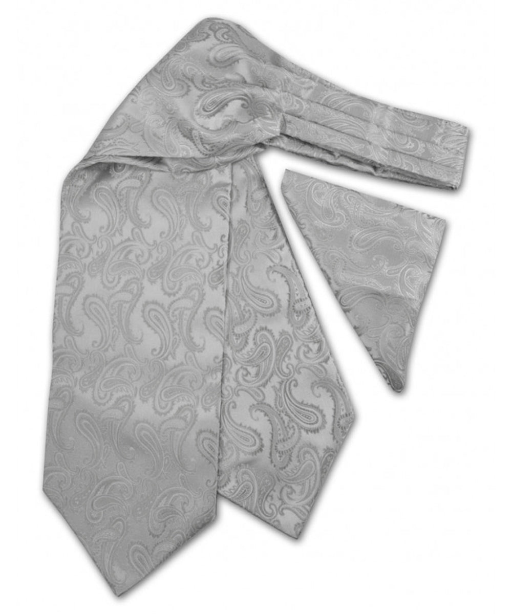 Silver Paisley Ascot Tie and Pocket Square