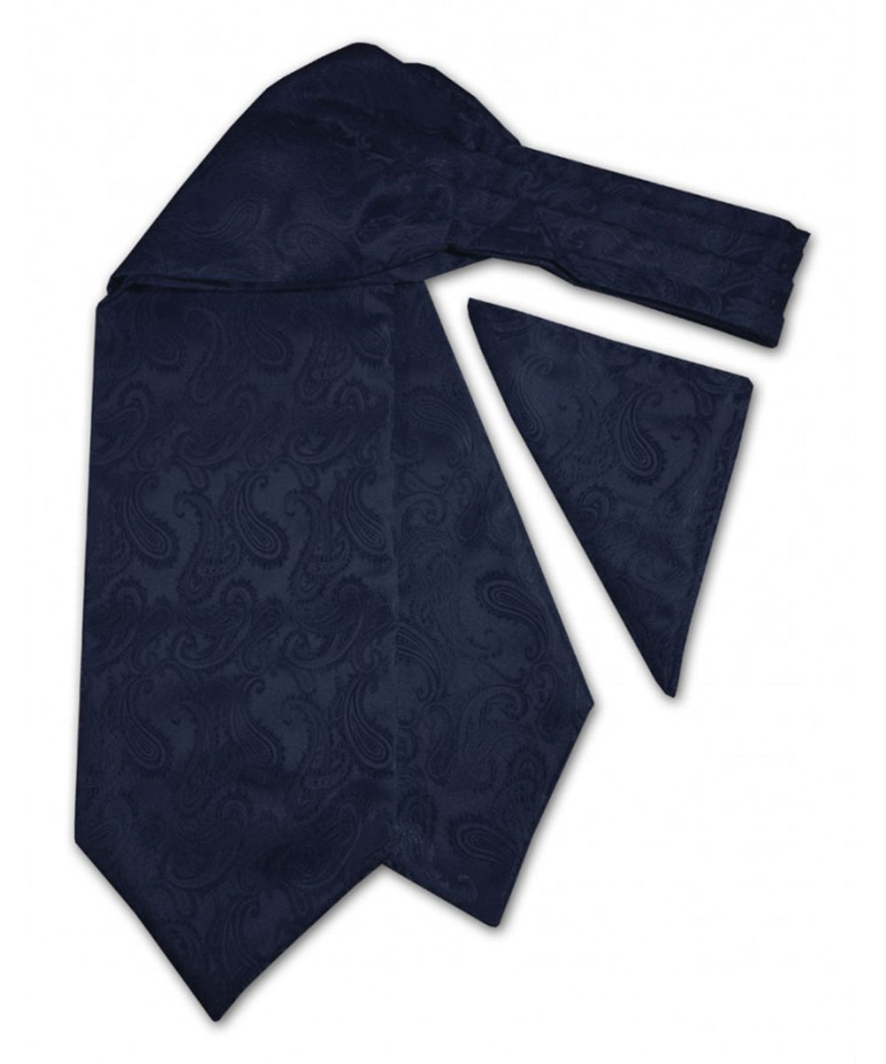 Navy Blue Paisley Ascot Tie and Pocket Square