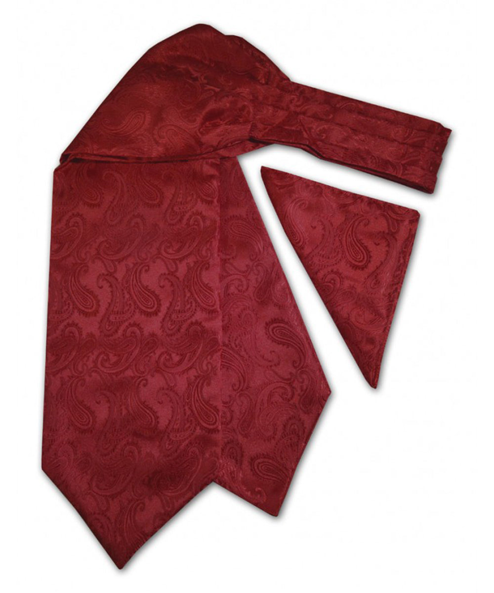 Burgundy Paisley Ascot Tie and Pocket Square