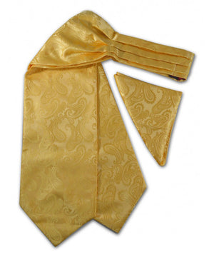 Yellow Paisley Ascot Tie and Pocket Square