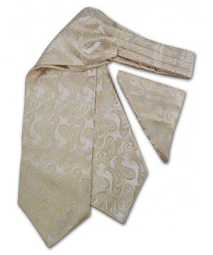 Tan Paisley Ascot Tie and Pocket Square