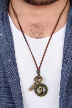 Men's Antique Metal Accessory Leather Strap Necklace