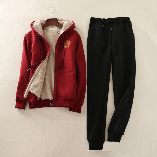 S-2XL women set winter lambskin thicken sweatshirt+pants 2 pieces suits women loose plus velvet hooded warm cotton jacket casual