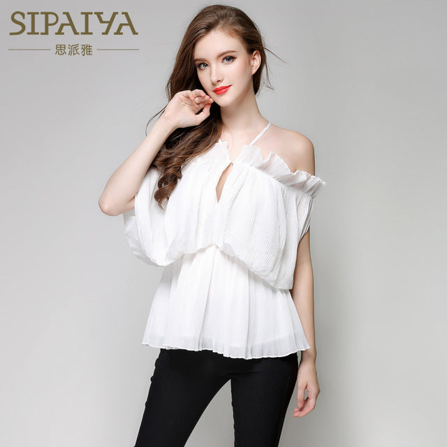 SIPAIYA Off Shoulder White Blouse Shirt Womens Tops Cool Blouse Shirt 2018 Brand New Loose Feminine Blouse Summer Chiffon Blusas