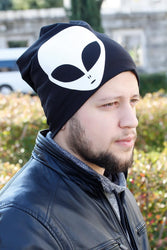 Men's White Alien Figure Black Beret