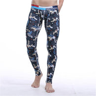 Cotton Printing Warm Men Long Johns Leggings Thermal Underwear Bottom Pants New
