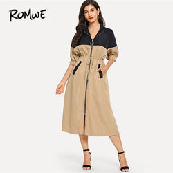 Bishop Sleeve Drawstring Waist Trench Coat For Women