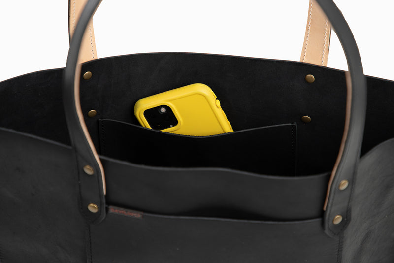 Marquis Leather Tote (Smooth Black)