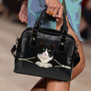 Black And White British Shorthair Cat Shoulder Handbag V4