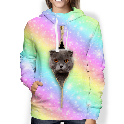 Scottish Fold Cat Rainbow Hoodie V1