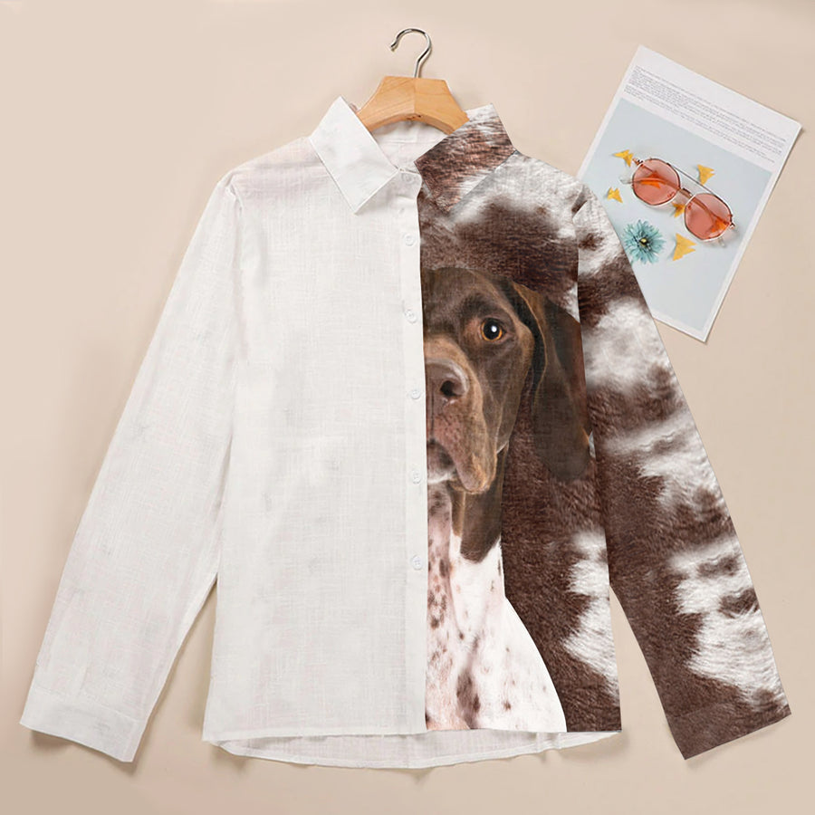 Half Angel Half German Shorthaired Pointer - Kvinders skjorte V1