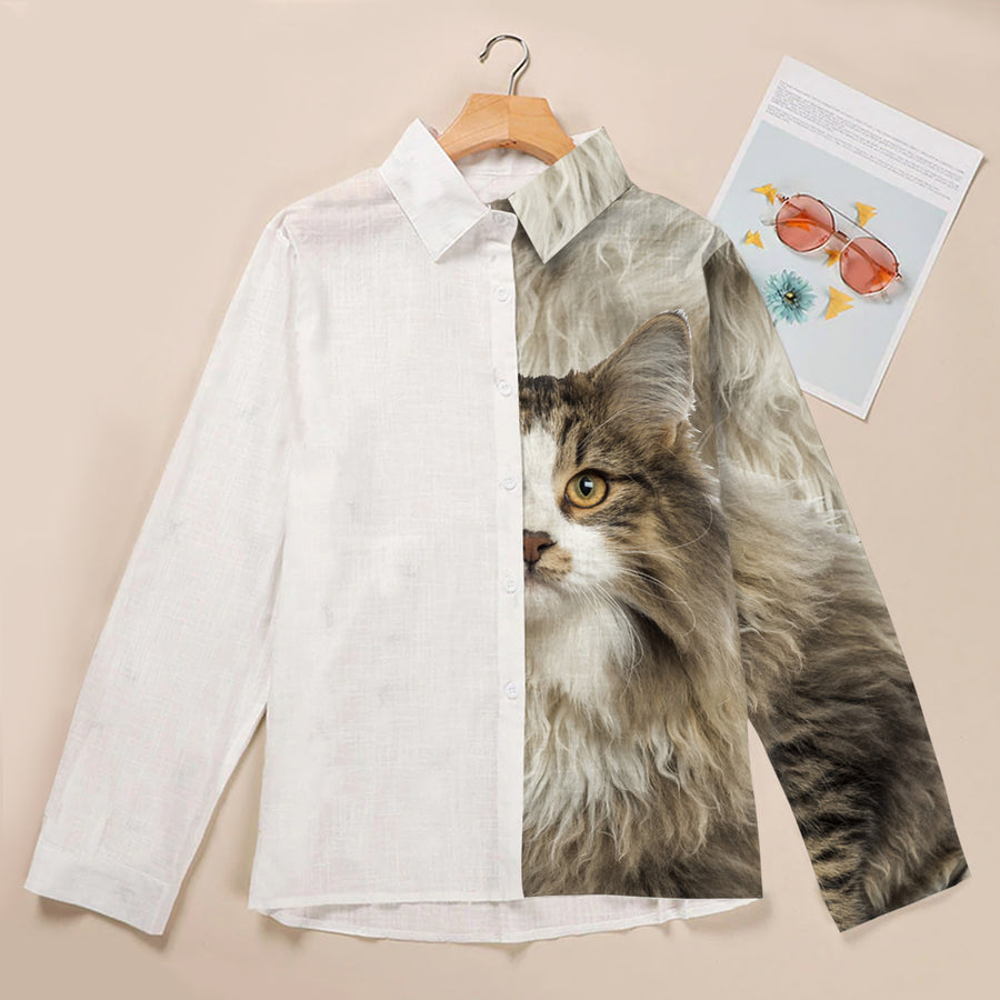 Half Angel Half Norwegian Forest Cat - Women's Shirt V1
