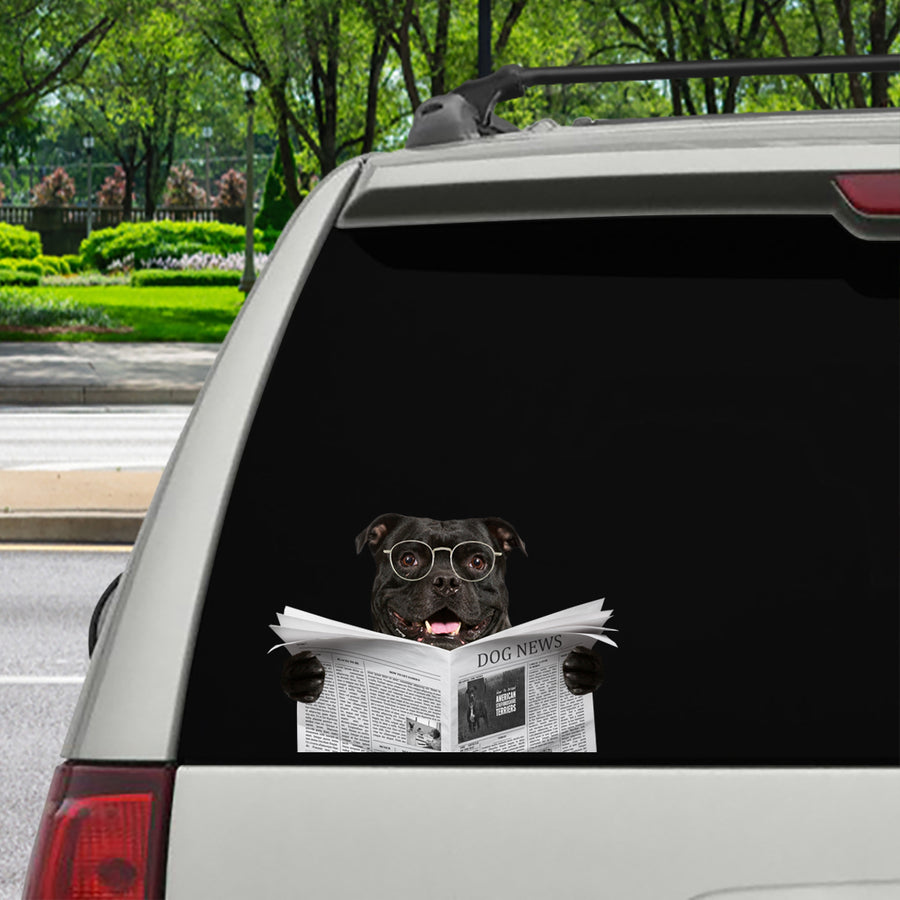 Have You Read The News Today - American Staffordshire Terrier Car/ Door/ Fridge/ Laptop Sticker V1