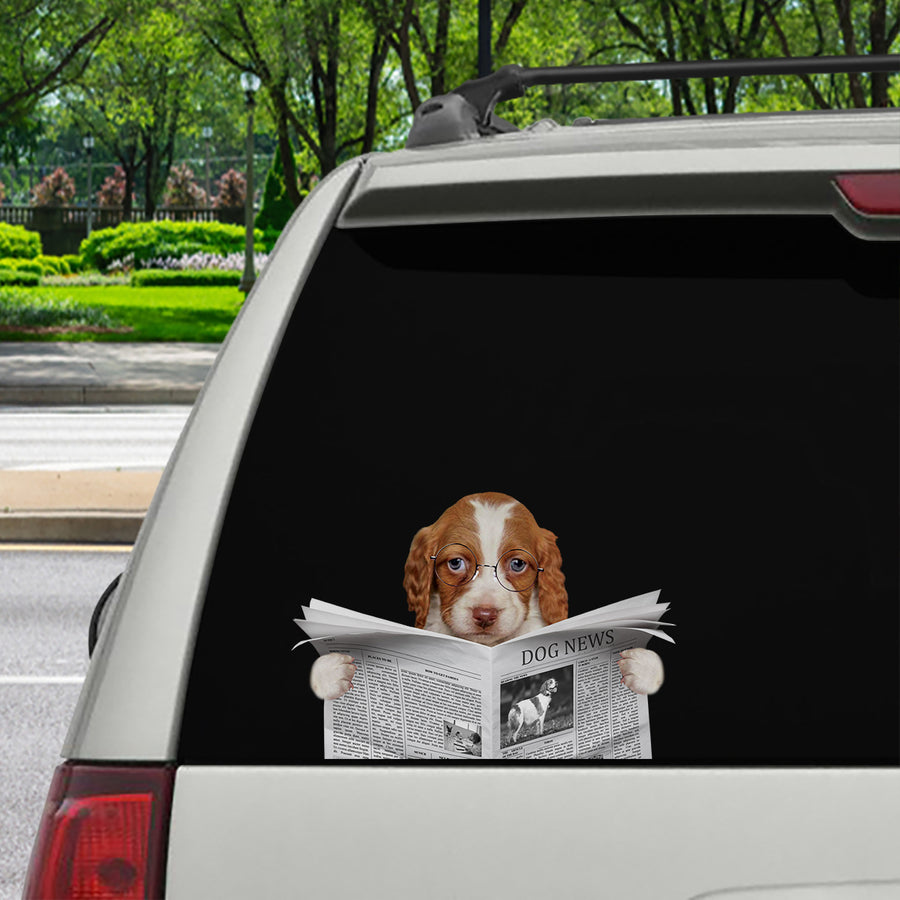 Have You Read The News Today - Brittany Spaniel Car/ Door/ Fridge/ Laptop Sticker V1