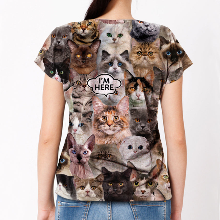I'm Here - Maine Coon Cat T-shirt V1