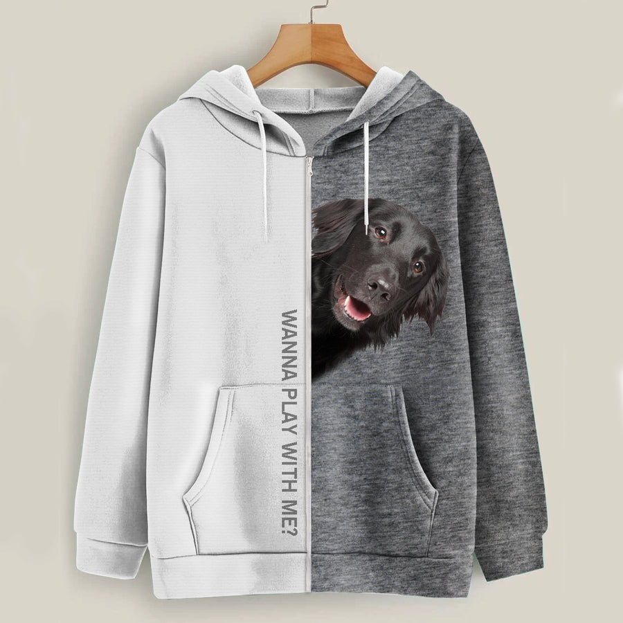 Play With Me - Flat Coated Retriever Hoodie V1