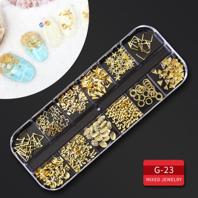 FUMO 12 Grid Multi-Size Nail Strass 3D Crystal