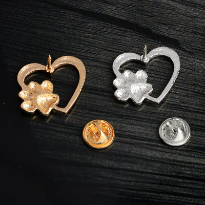 Dog & Cat Paws Brooches Pins