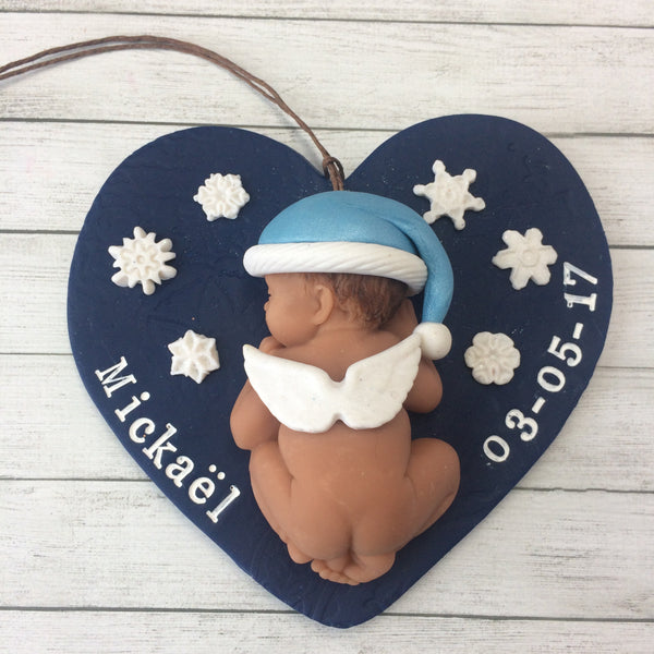 Angel Baby Memorial Christmas Ornament - Santa & Snowflake Themed