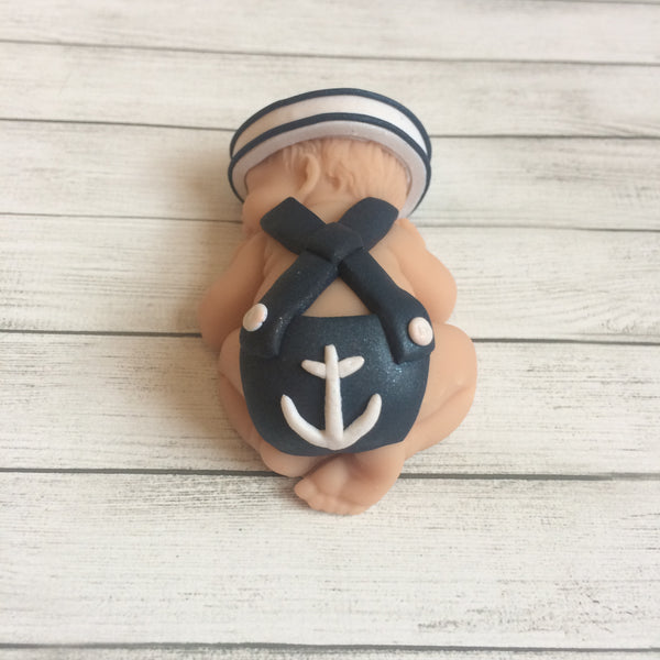 Ahoy It's a Boy Sailor Baby Cake Topper - Nautical Baby Shower and Nursery Decor