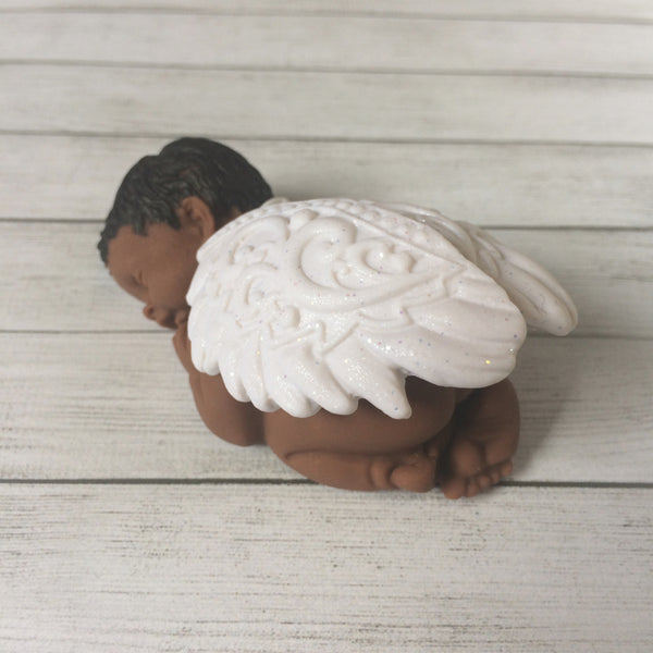 Miniature baby with angel wings - keepsake for infant loss, pregnancy loss, and miscarriage gift.