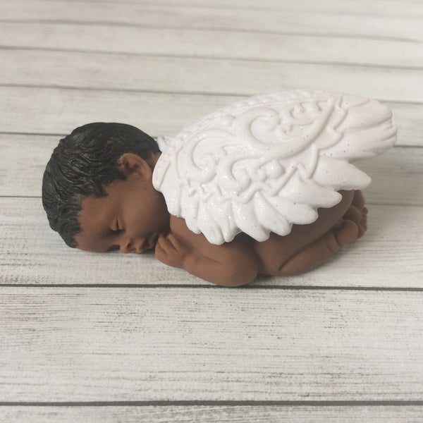 Hand-crafted memorial gift for grieving parents - clay angel baby miniature sculpture.