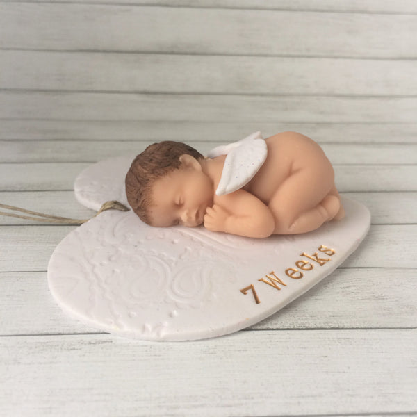 Keepsake ornament and memorial gift for loss of baby to miscarriage or infant loss, personalize with baby's name and dates or other special message such as gestational age or a Bible verse reference.