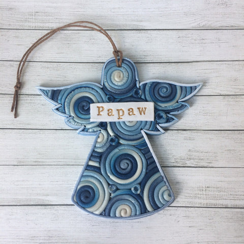 Personalized Guardian Angel Memorial Ornament in Polymer Clay Filigree Style