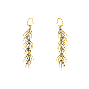 Gold Plated Bronze & Hematite Crystal Branch Earrings