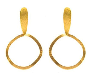 Gold Plated Bronze Drop Hoop Earrings
