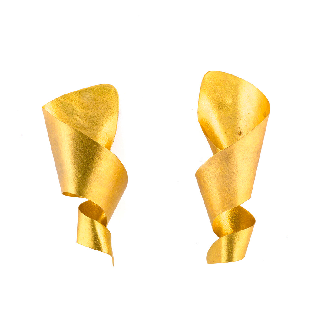 Bronze Twisted Cone Stud Earrings