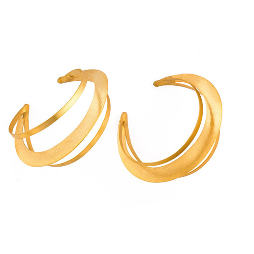 Bronze Three Layer Hoop Earrings