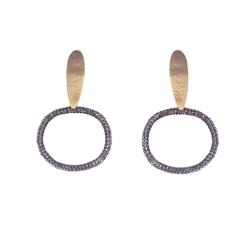 Gold Plated Bronze & Hematite Crystal Oval Earrings