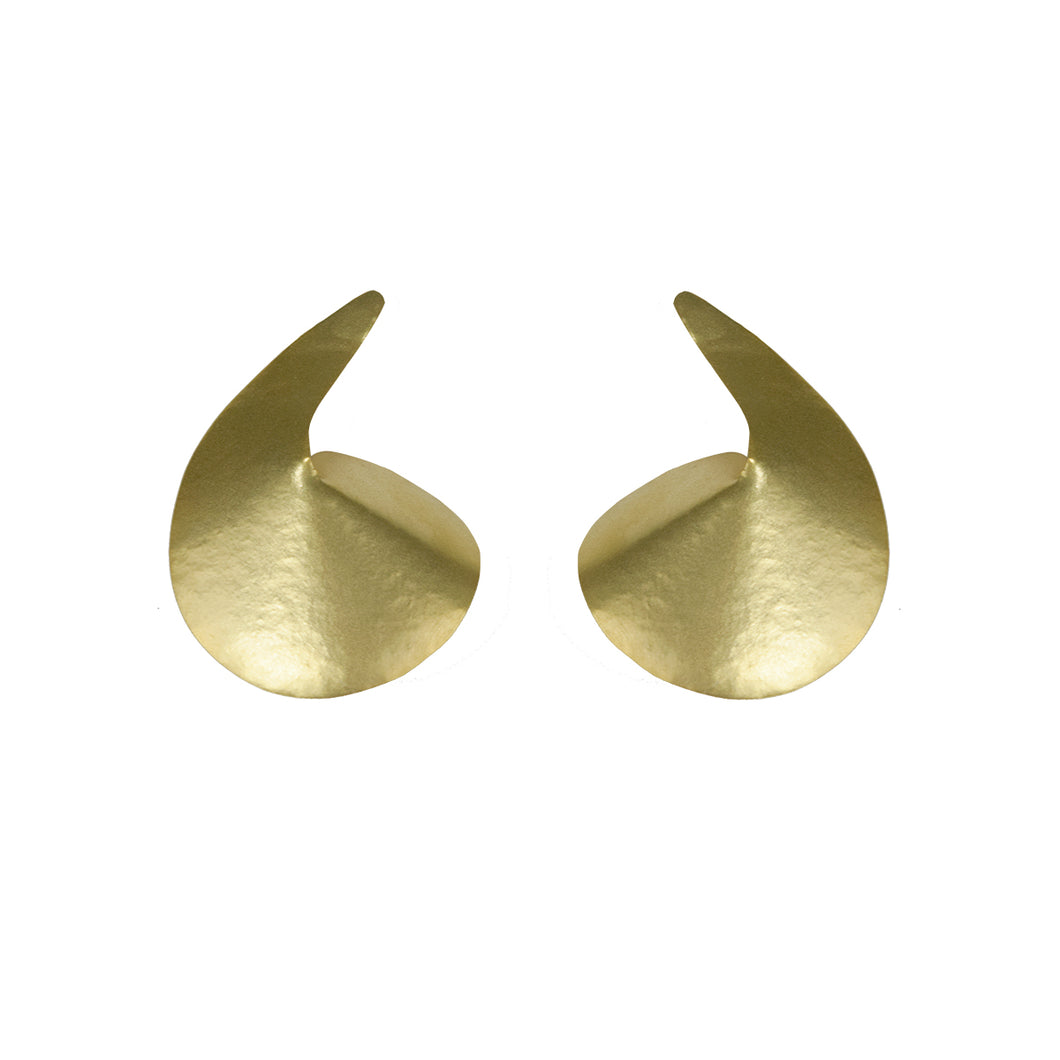 Gold Plated Bronze Comma Earrings