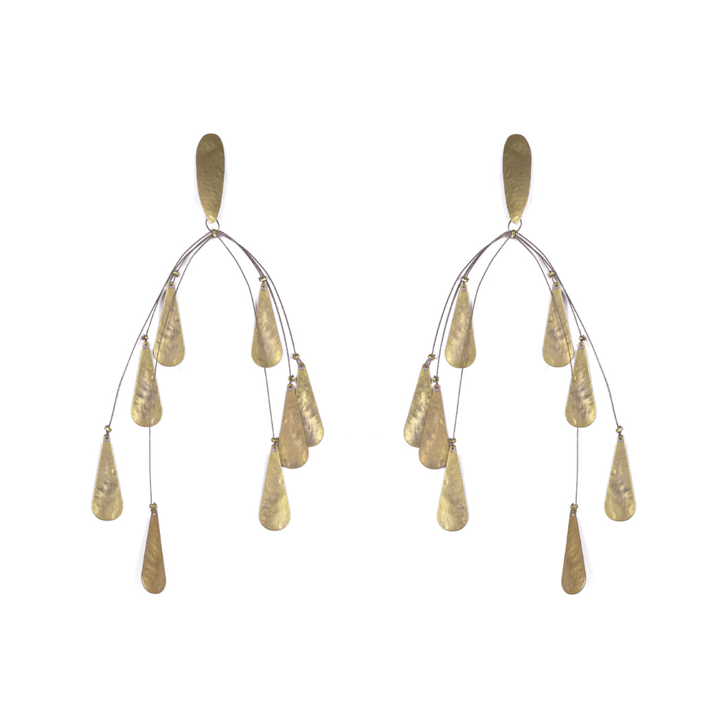 Gold Plated Bronze Teardrop Mobile Earrings