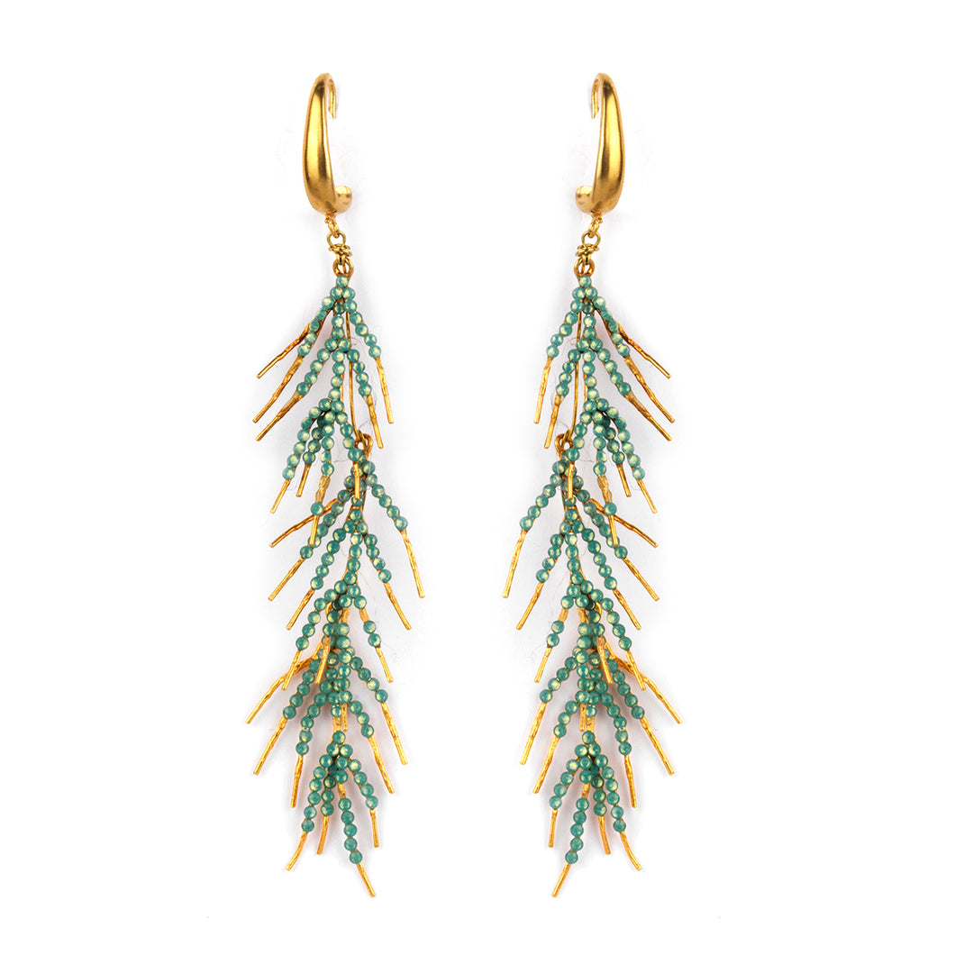 Gold Plated Bronze & Aqua Crystal Branch Earrings